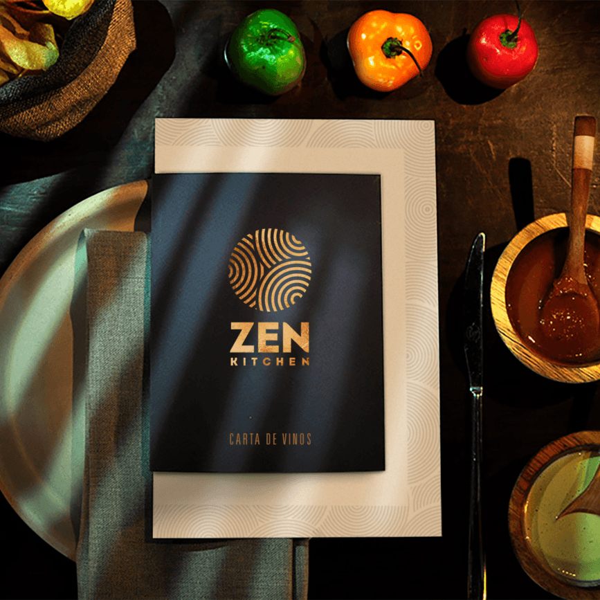 fellowmarks Zen Kitchen Wine Menu Carta Vinos Brand Identity Design Logo
